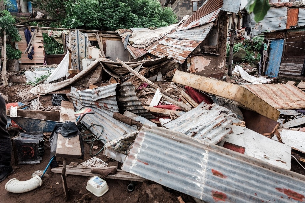 Houses destroyed by torrential rains and flash floods at an informal settlement of BottleBrush, south of Durban.