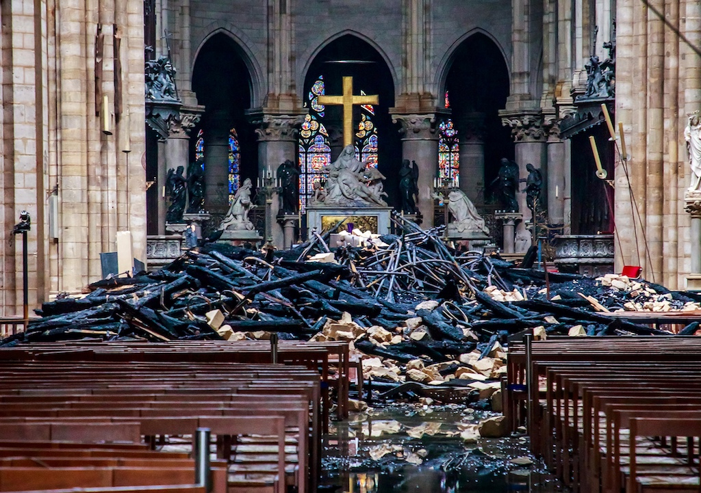 Debris inside the Notre Dame Cathedral in Paris a day after a fire devastated the building.