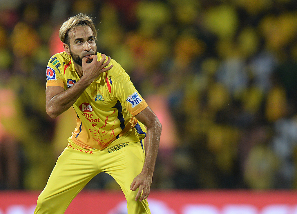 Chennai Super Kings cricketer Imran Tahir celebrates a wicket of Kolkata Knight cricket captain Dinesh Karthik during the 2019 Indian Premier League (IPL) Twenty20 cricket match.
