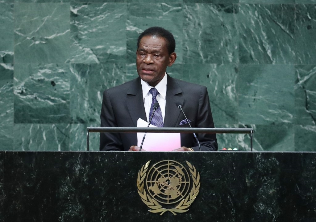 Teodoro Obiang Nguema Mbasogo, President of Equatorial Guinea, addresses the 73rd session of the General Assembly at the United Nations in New York.