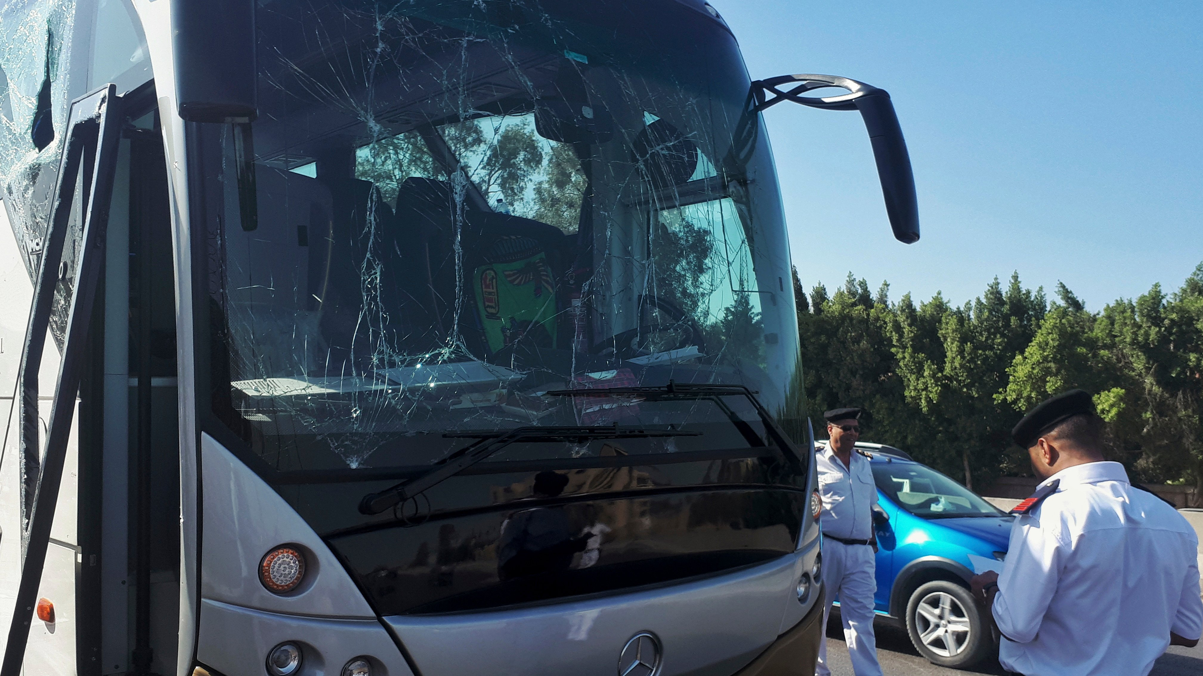 A bus damaged during a bomb blast near Egypt's famed Giza pyramids.