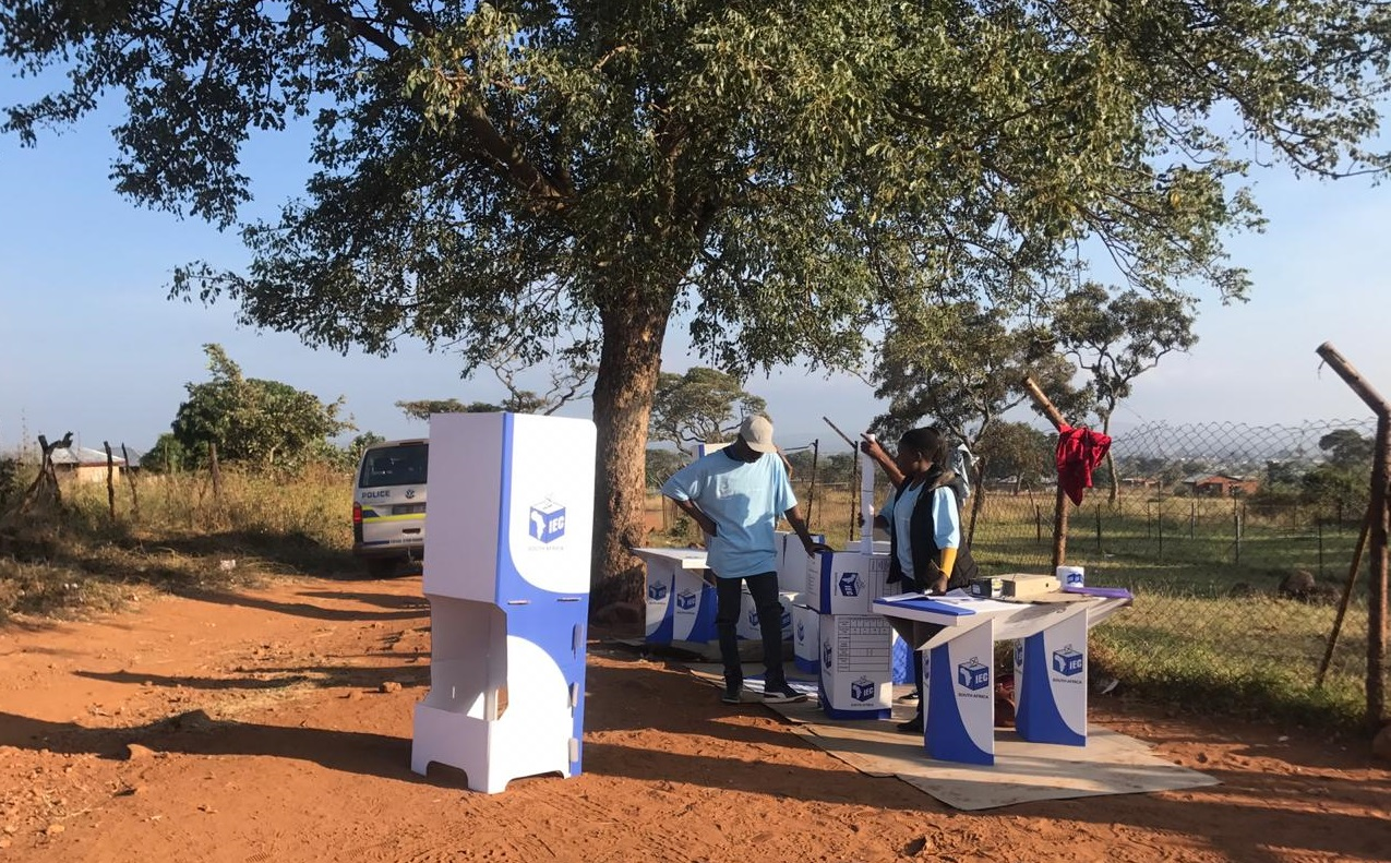 A voting station ready for voters in Vuwani, Limpopo