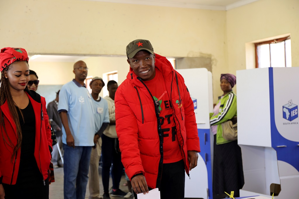 File: EFF leader Julius Malema casts his ballot for the country's parliamentary and provincial elections.