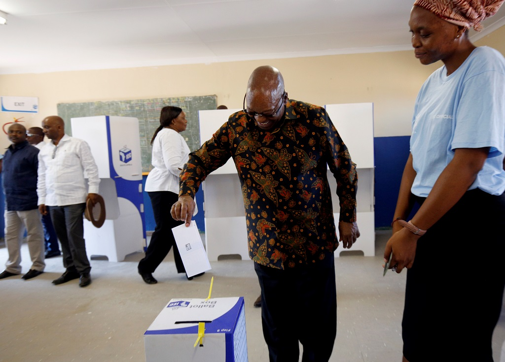Former president Jacob Zuma casts his ballot in Election 2019
