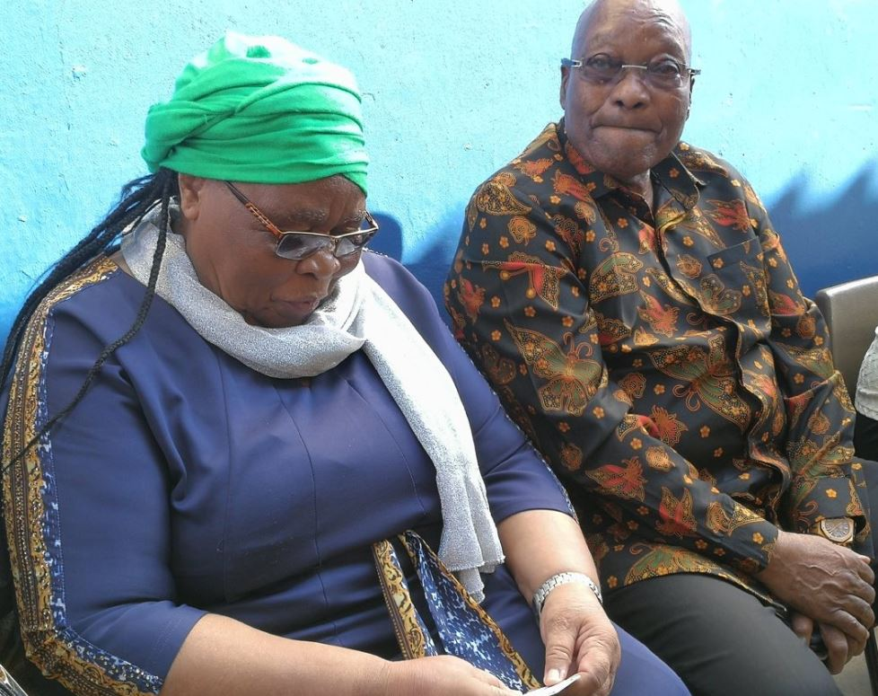 Former President Jacob Zuma and his wife MaKhumalo wait to vote in Election 2019