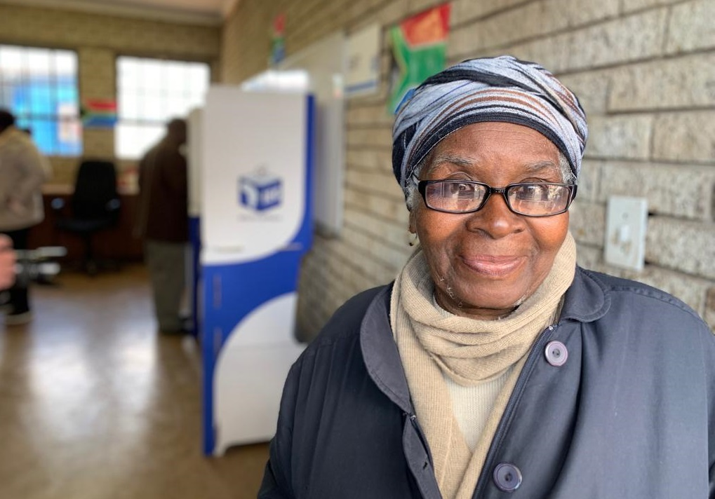 Soweto resident Mavis Nkosi at a voting station in Chiawelo Soweto