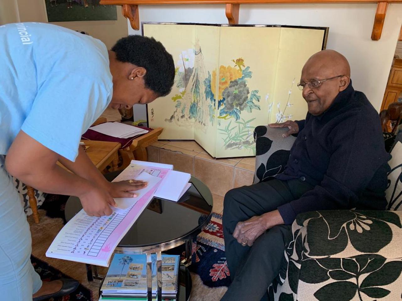 Archbishop Emeritus Desmond Tutu casts his special vote at his home in Milnerton, Cape Town.