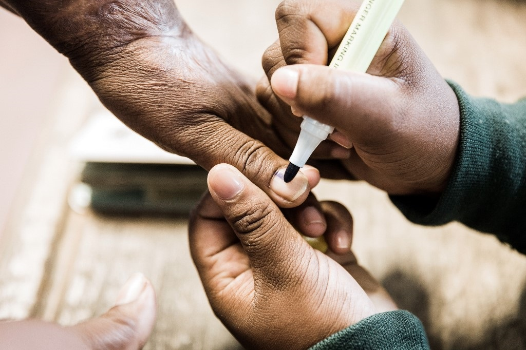 Voter gets her thumb marked in Election 2019