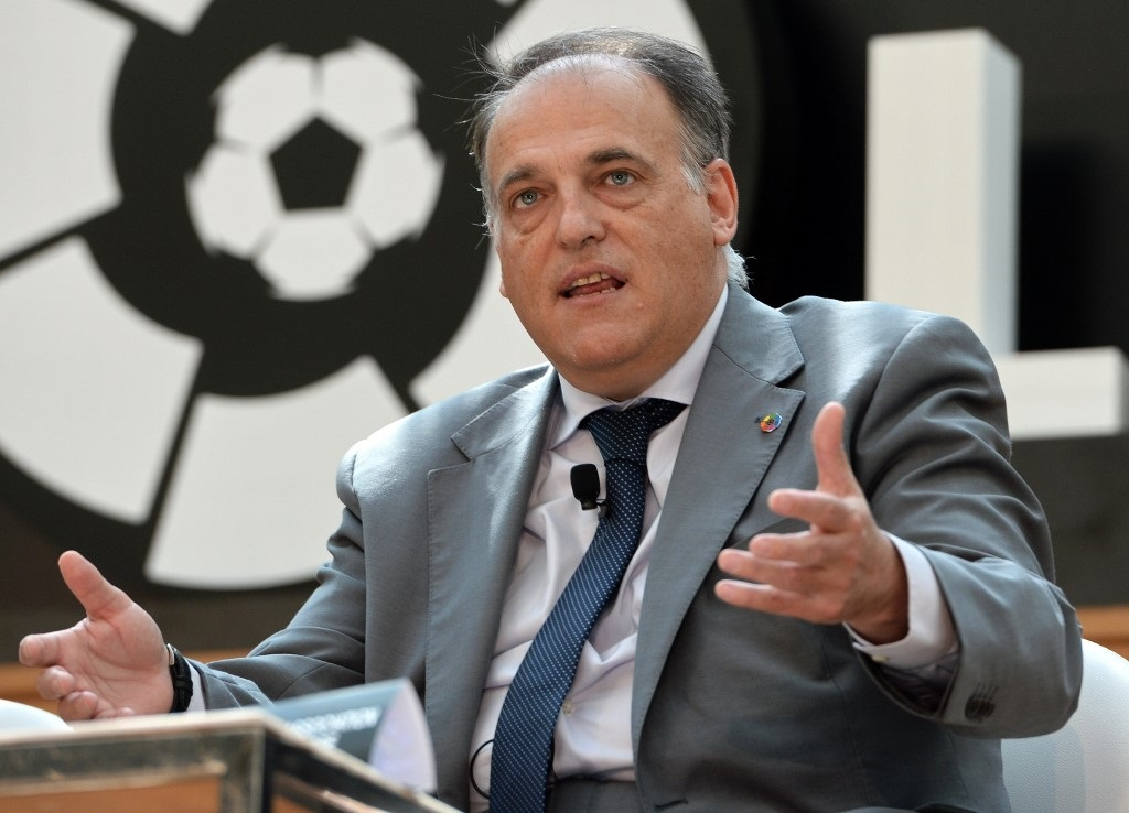 Javier Tebas, president of La Liga speaks during the official launch of Spanish Football League La Liga office in Singapore.