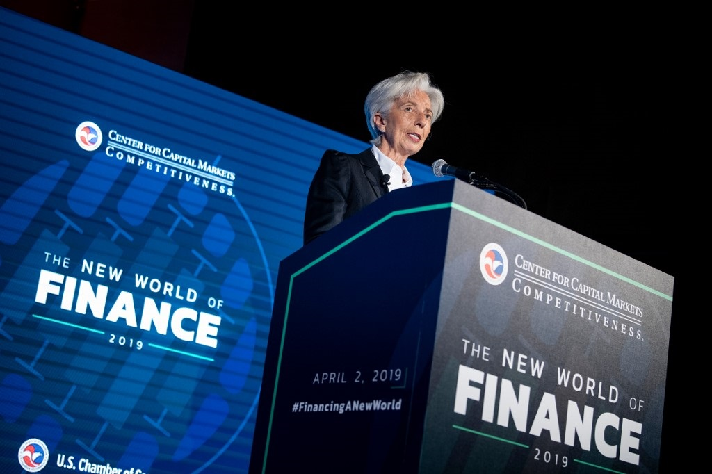 International Monetary Fund (IMF) Managing Director Christine Lagarde speaks at the US Chamber of Commerce April 2, 2019, in Washington, DC.