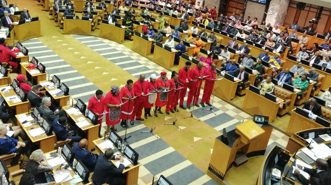 Members of the EFF being sworn in as MPs.
