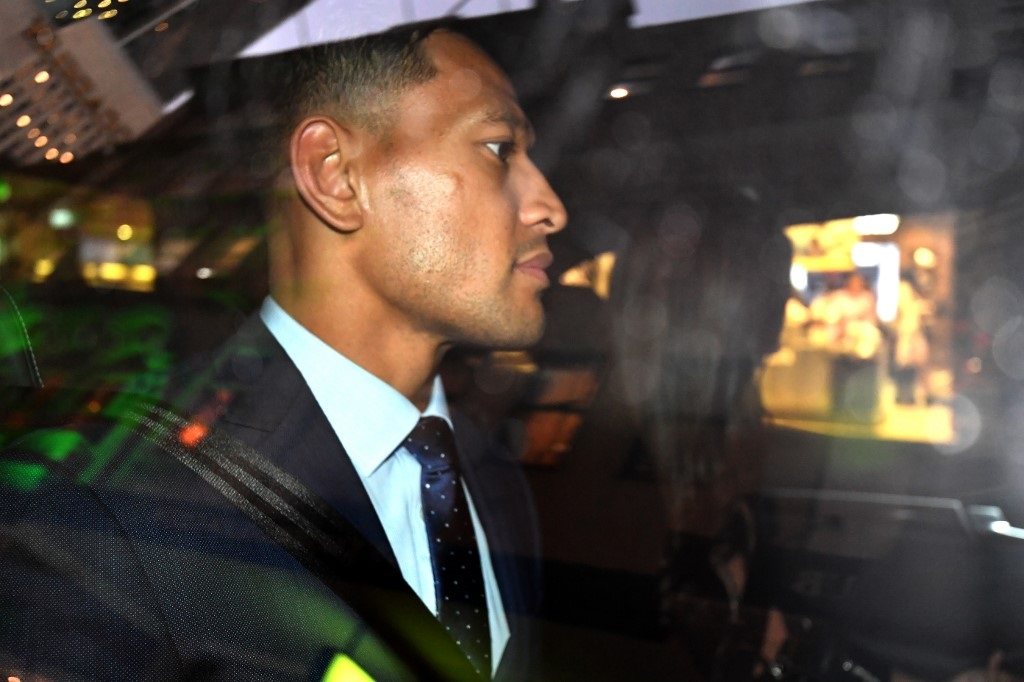 Australia's full-back Israel Folau leaves after a code of conduct hearing in Sydney on May 7, 2019.