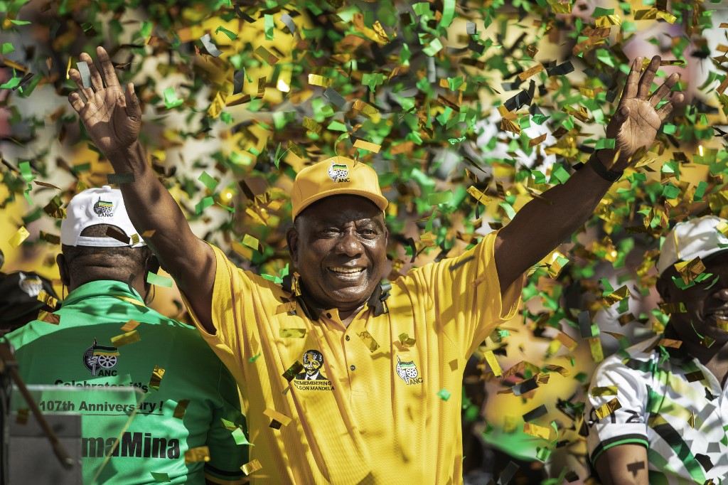 Cyril Ramaphosa during the ANC's final election rally