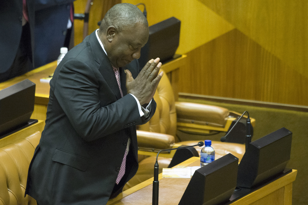 South-African President Cyril Ramaphosa shows gratitude after being elected as national president by lawmakers.
