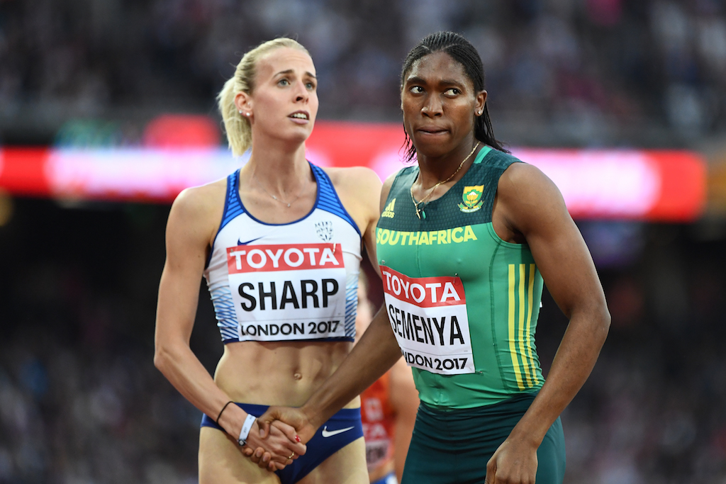File: South Africa's Caster Semenya (R) shakes hands with Britain's Lynsey Sharp after the semi-final of the women's 800m athletics event at the 2017 IAAF World Championships.