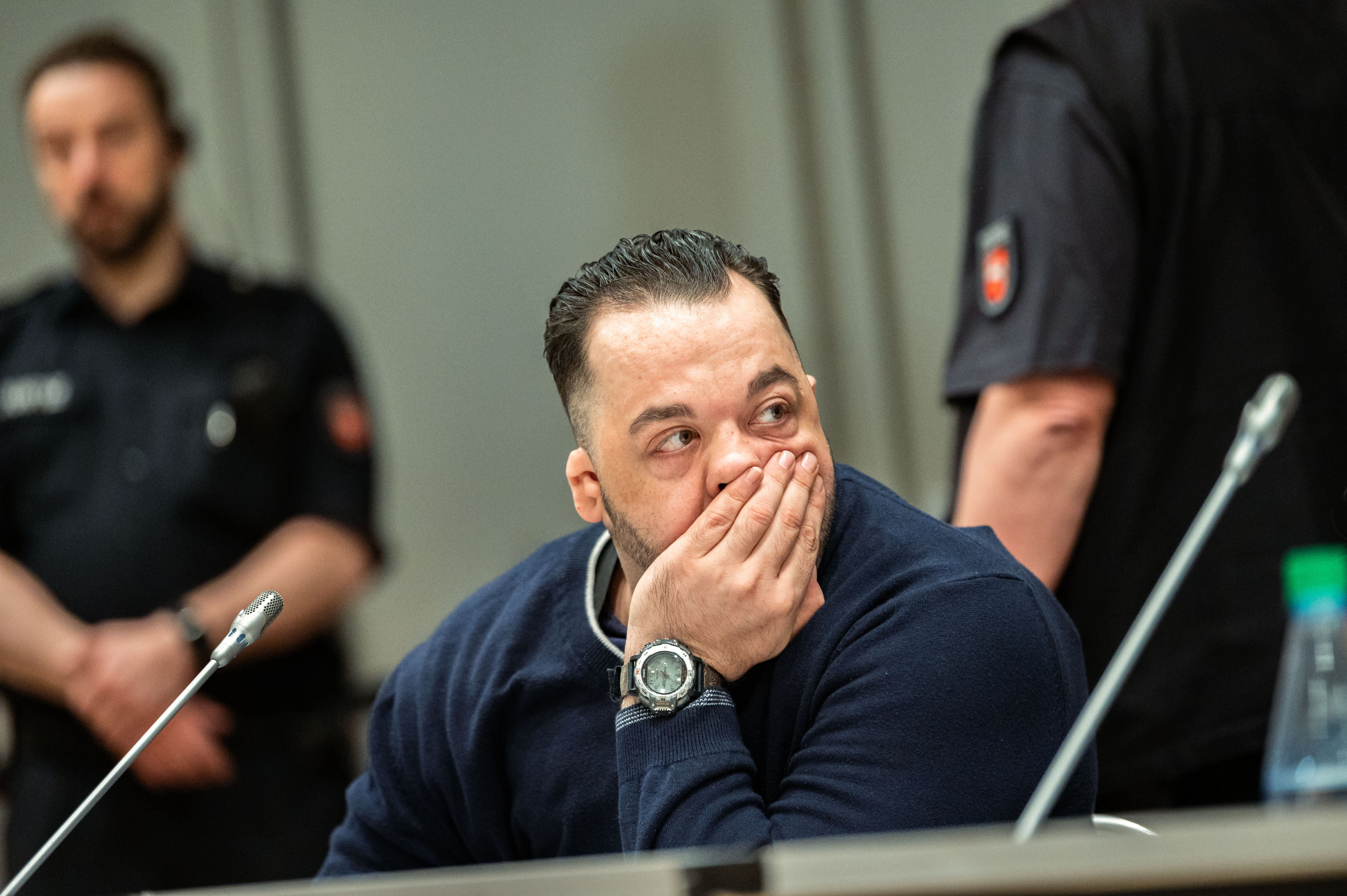 Former nurse Niels Hoegel, accused of killing more than 100 patients in his care, waits at court for the continuation of his trial in Oldenburg, northern Germany, on June 5, 2019.