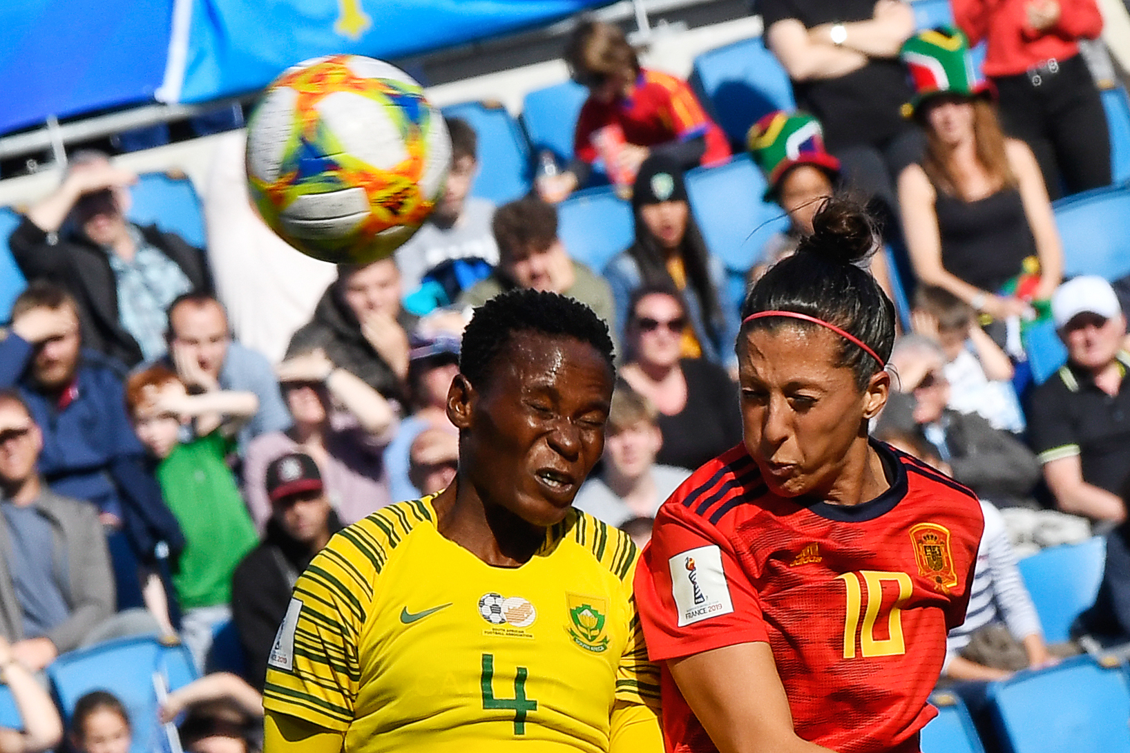 South Africa's defender Noko Matlou (L) vies for the ball with Spain's forward Jennifer Hermoso during the France 2019 Women's World Cup Group B football match between Spain and South Africa, on June 8, 2019, at the Oceane Stadium in Le Havre, northwestern France.