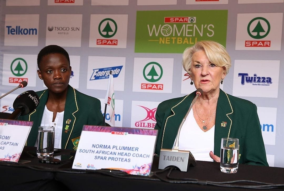 South Africa Netball Head Coach Norma Plummer and Spar Proteas Captain Bongi Msomi at the Spar Proteas Netball World Cup send-off in Pretoria.