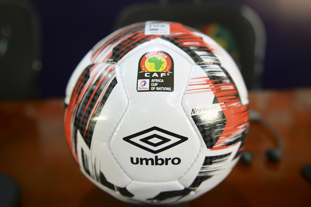 63956a21a69 The official ball for the 2019 football Africa Cup of Nations (CAN) the Umbro  Neo Pro is pictured during a press conference by Confederation of African  ...