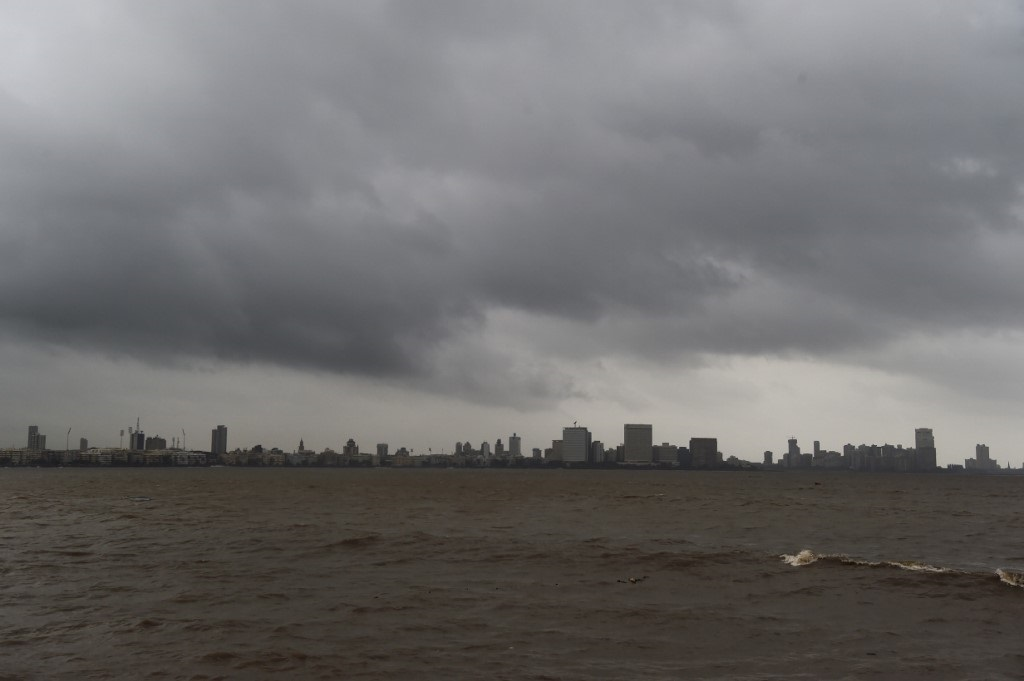 General view as dark clouds gather over Mumbai's skyline on June 12, 2019.
