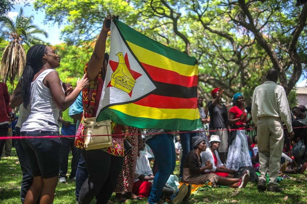 Zimbabweans gather at Unity Square in Harare.