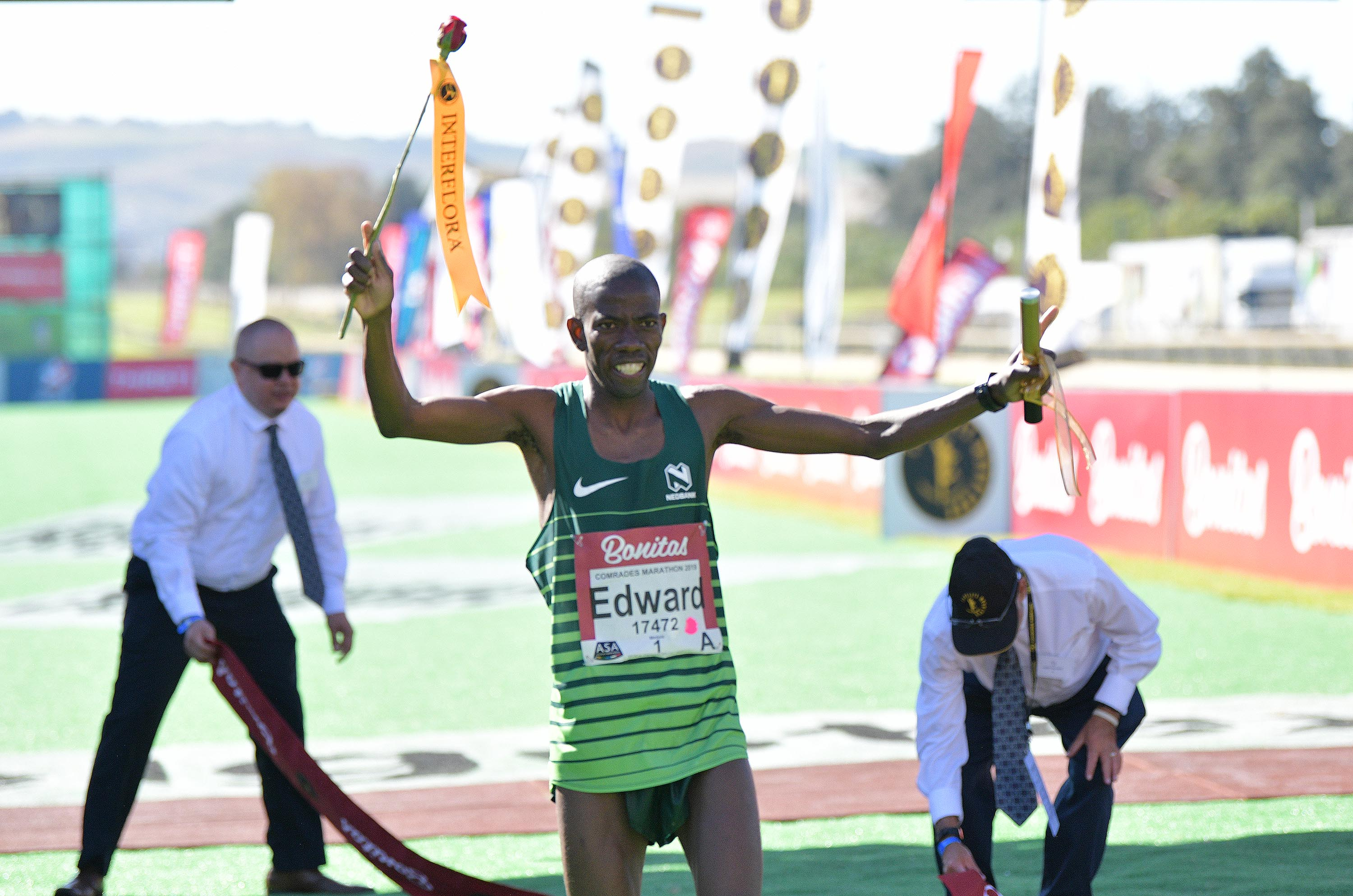 Edward Mothibi winner of the 94th Comrades Marathon on June 09, 2019 in Durban, South Africa.