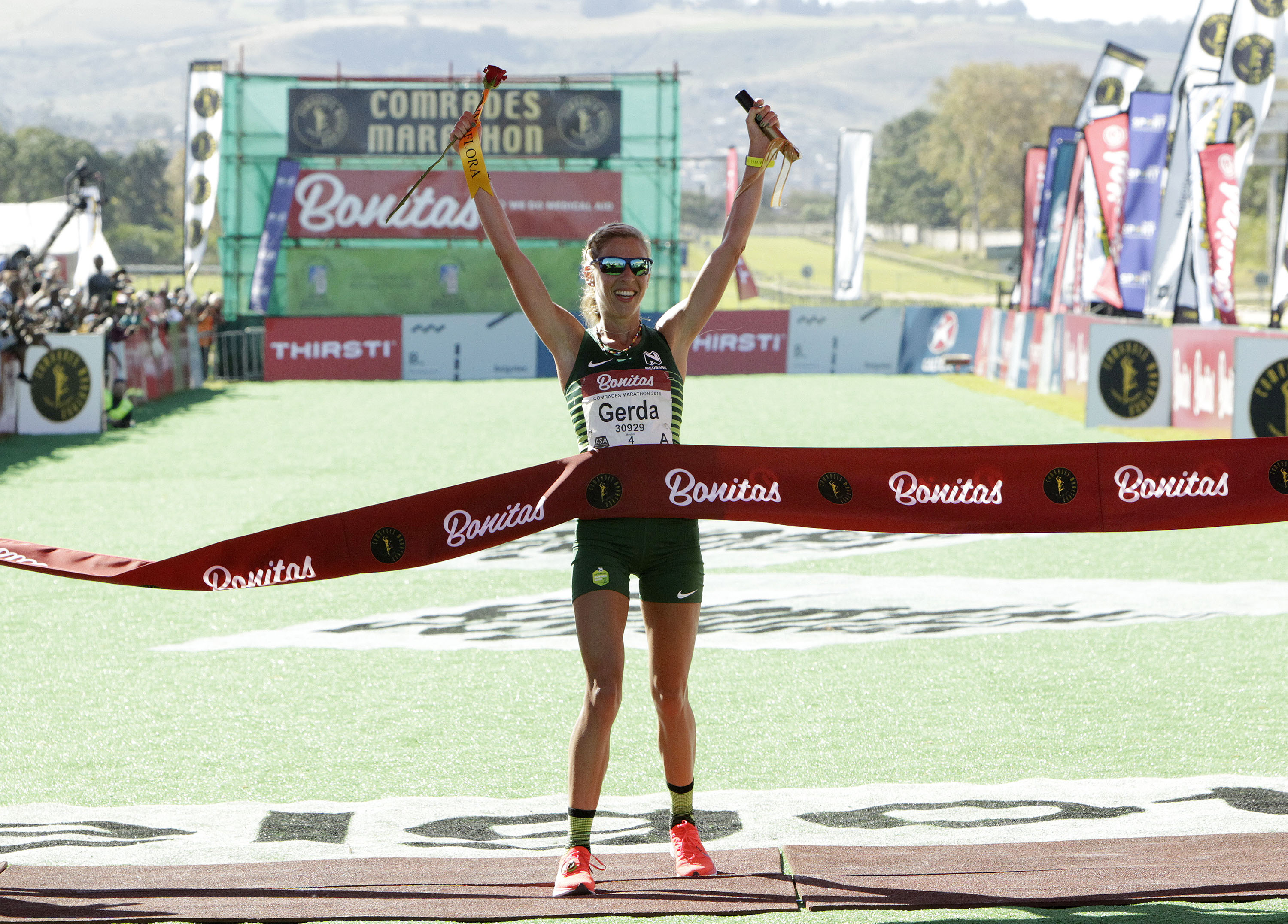 Gerda Steyn winner of the 94th Comrades Marathon on June 09, 2019 in Durban, South Africa. Steyn made a time of 5:58:53.