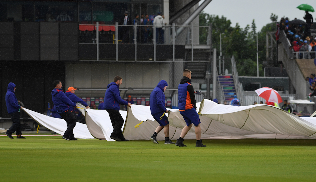 Pakistan were 166 for six, chasing an initial target of 337, when rain stopped play after 35 overs.