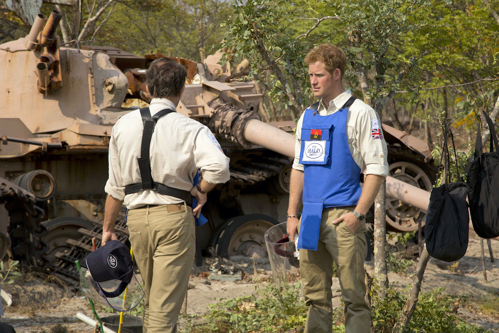 File: Prince Harry toured minefields remaining from Angola's brutal civil war in 2013.