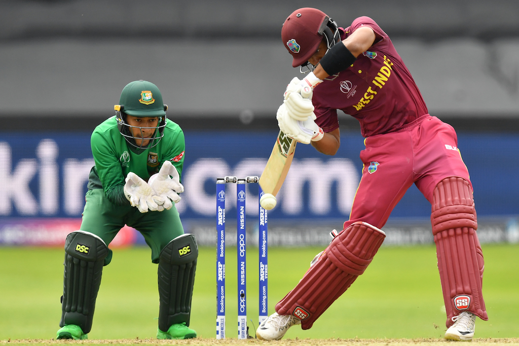 West Indies' Shai Hope plays a shot during the 2019 Cricket World Cup group stage match between West Indies and Bangladesh.