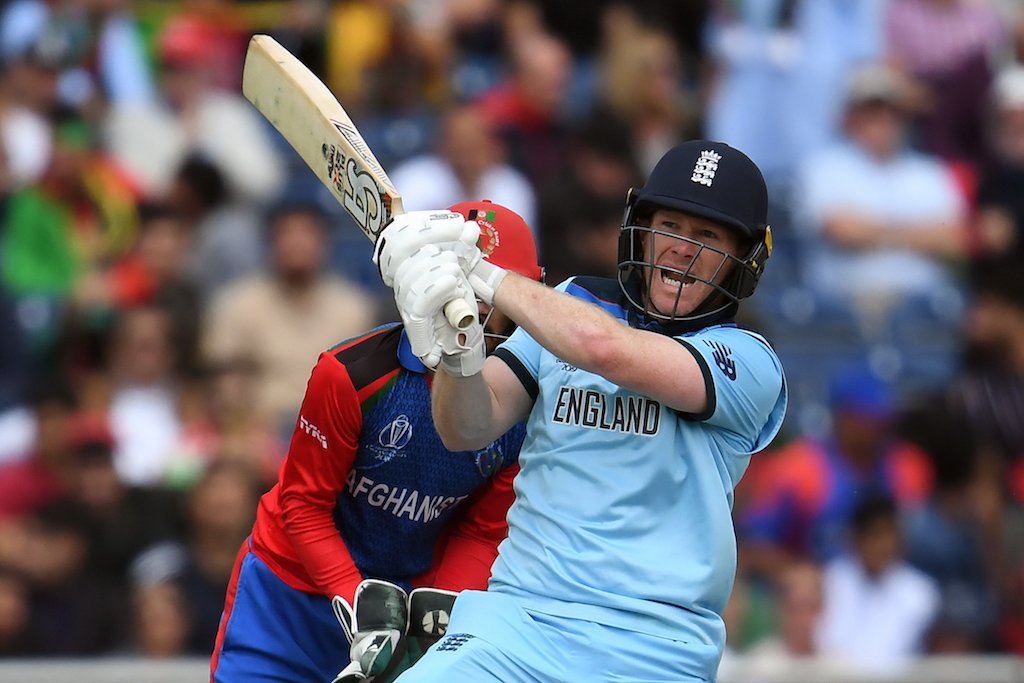 England's captain Eoin Morgan plays a shot during the 2019 Cricket World Cup group stage match between England and Afghanistan.