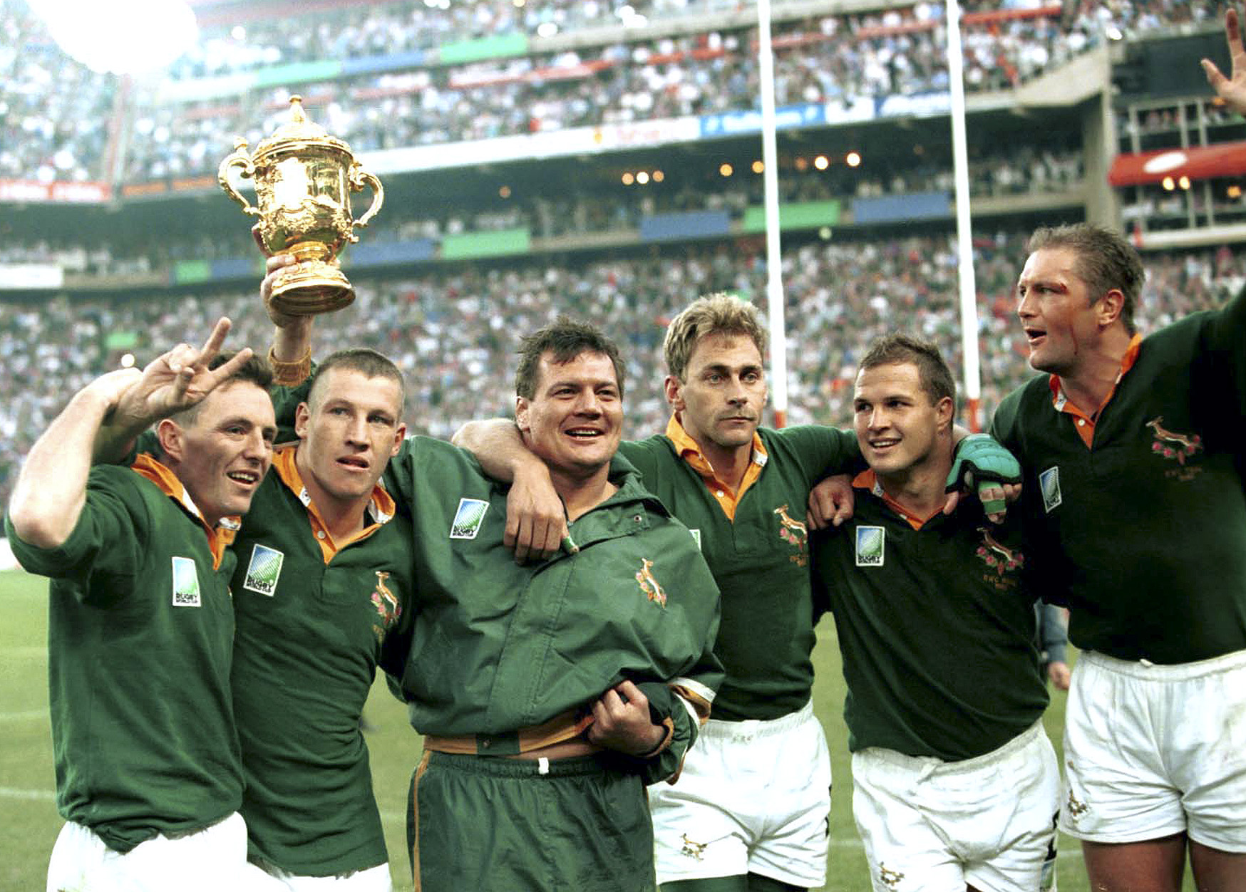 The 1995 Rugby World Cup, won by the Springboks. Celebrating are Joel Stransky, James Small, Balie Swart, Andre Joubert, Chris Rossouw and Hannes Strydom.