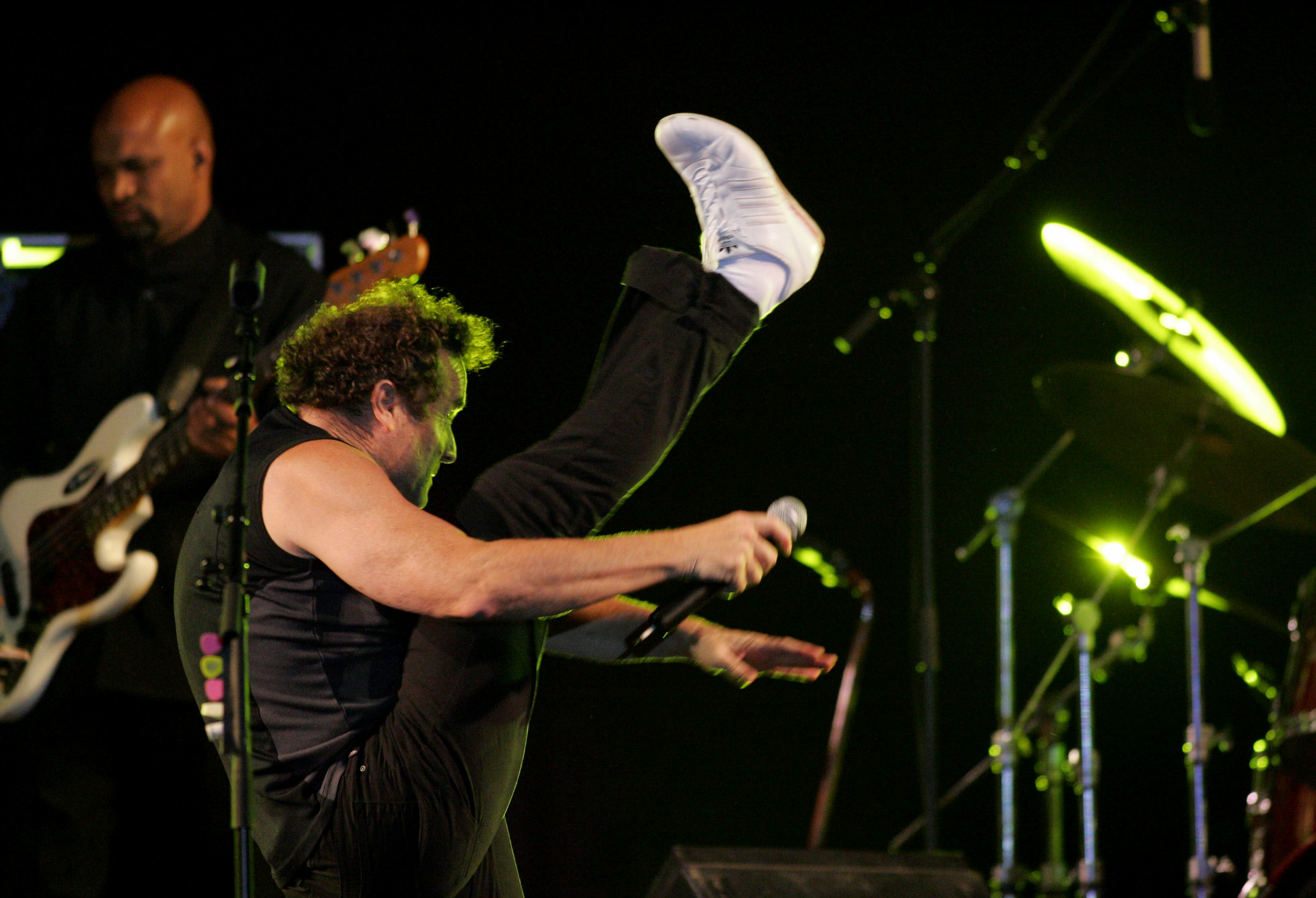 South African singer Johnny Clegg performes on stage during the Fez Festival of World Sacred Music in Fez.