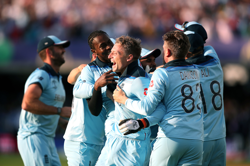 England celebrate winning the ICC World Cup during the ICC World Cup Final at Lord's, London.