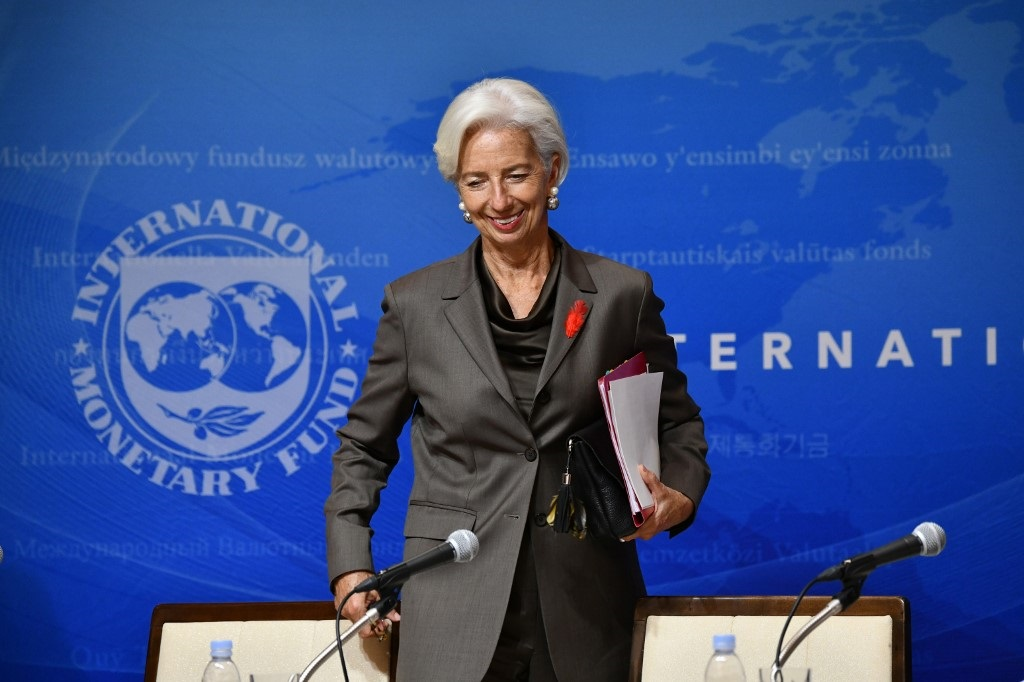 International Monetary Fund (IMF) managing director Christine Lagarde smiles as she attends a press conference in Tokyo.