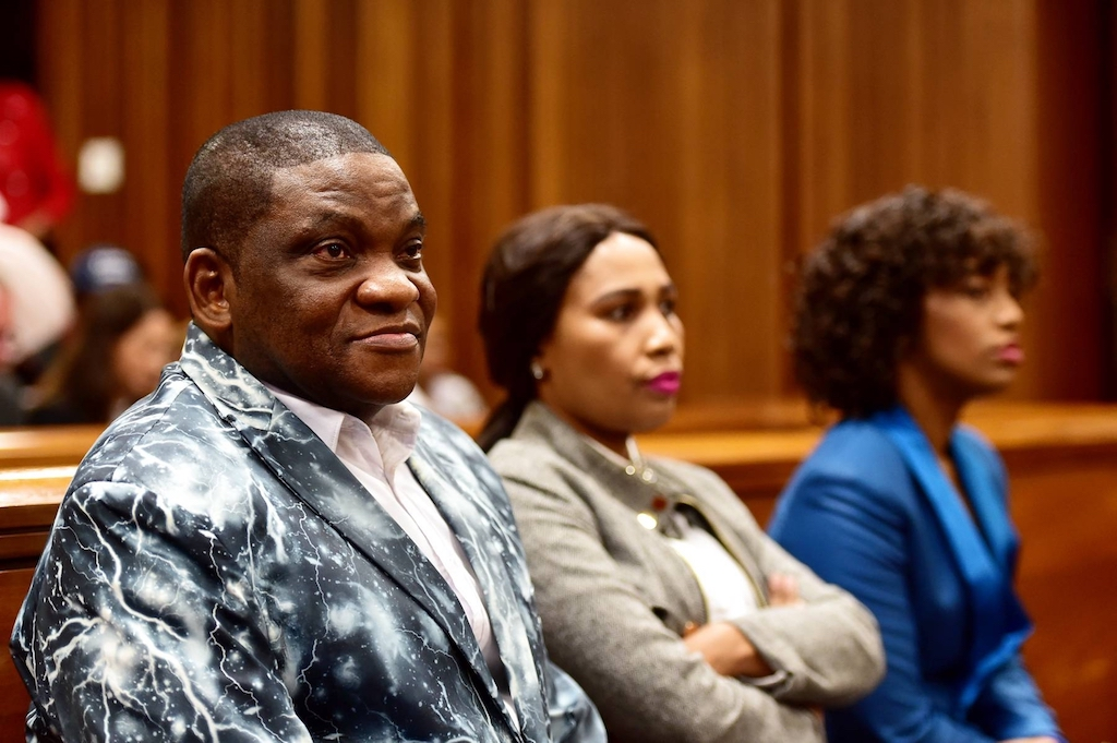 Controversial Nigerian pastor Timothy Omotoso and his co-accused Zukiswa Sitho and Lusanda Sulani during the rape and human trafficking trial at the Port Elizabeth High Court on July 30, 2019 in Nelson Mandela Bay, South Africa.