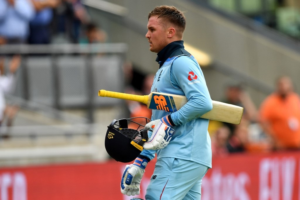 England's Jason Roy walks off for 85 during the 2019 Cricket World Cup second semi-final between England and Australia at Edgbaston in Birmingham, central England, on July 11, 2019.