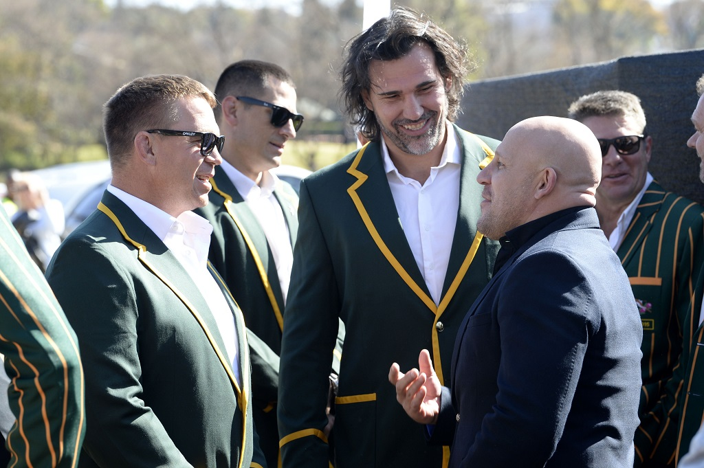 John Smit, Victor Matfield and James Dalton at James Small's funeral