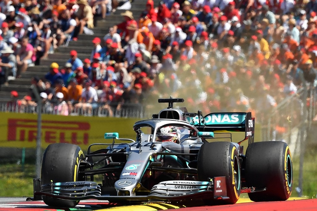 Mercedes' British driver Lewis Hamilton steers his car during the Austrian Formula One Grand Prix in Spielberg on June 30, 2019.