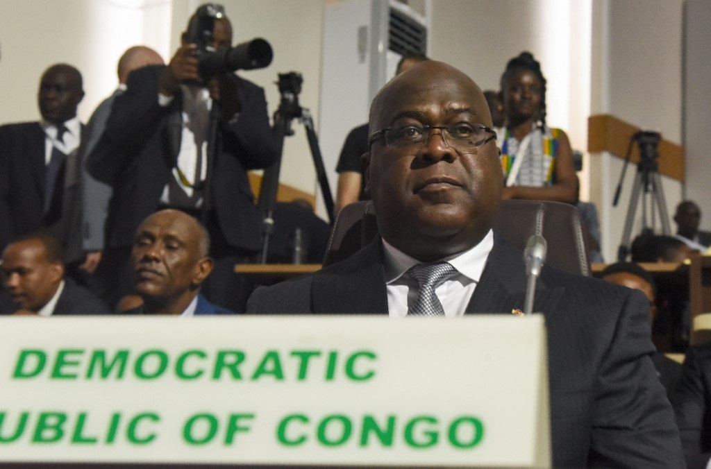DRCongo President Felix Tshisekedi looks on during the opening of the African Union summit at the Palais des Congres in Niamey, on July 7, 2019.