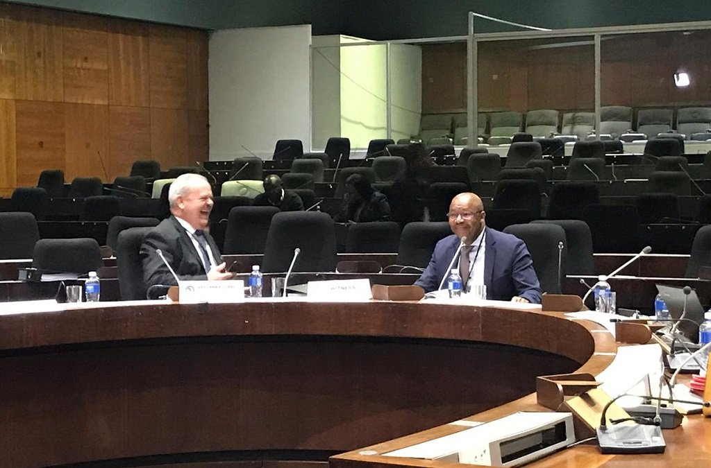 A lighter moment before the PIC hearing with Dan Matjila giving testimony 11 July 2019