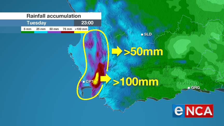 35 hour rainfall accumulation map over the SW Cape