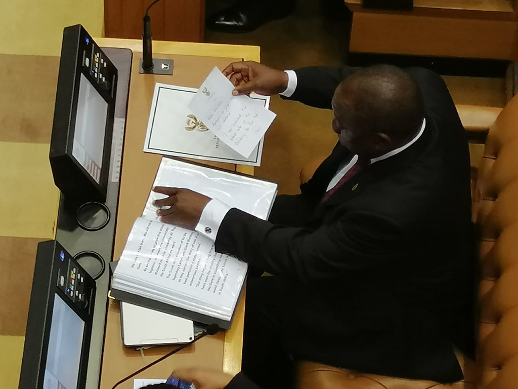 President Cyril Ramaphosa reading through his Presidency Budget Vote.