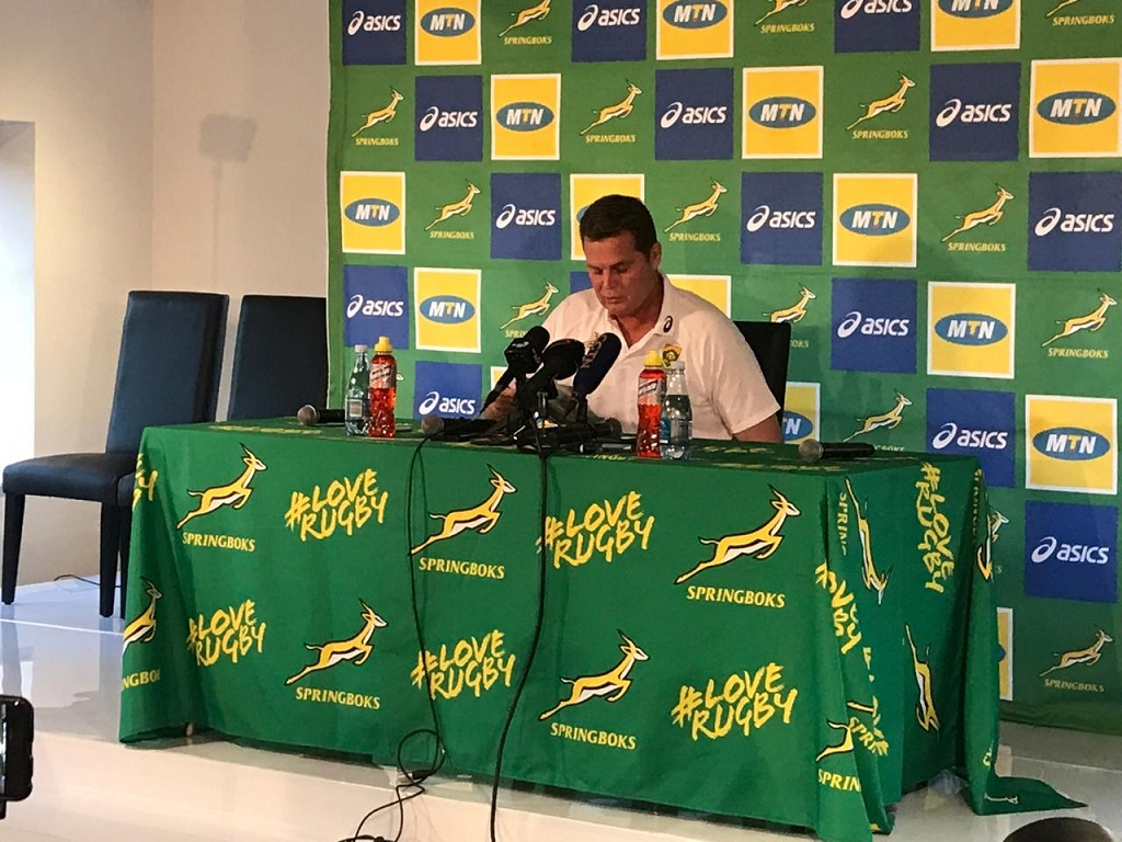 Springboks Coach Rassie Erasmus announcing the team to play against Australia on 20 July 2019