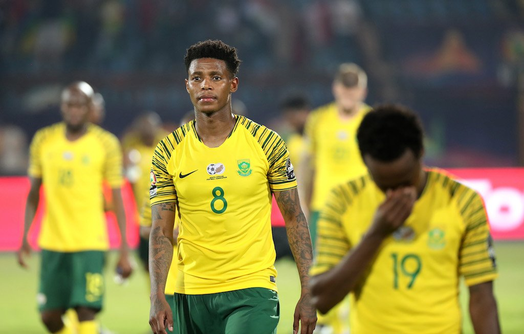 Bongani Zungu of South Africa (c) walks off the pitch after the 2019 Africa Cup of Nations Finals football match between South Africa and Morocco.