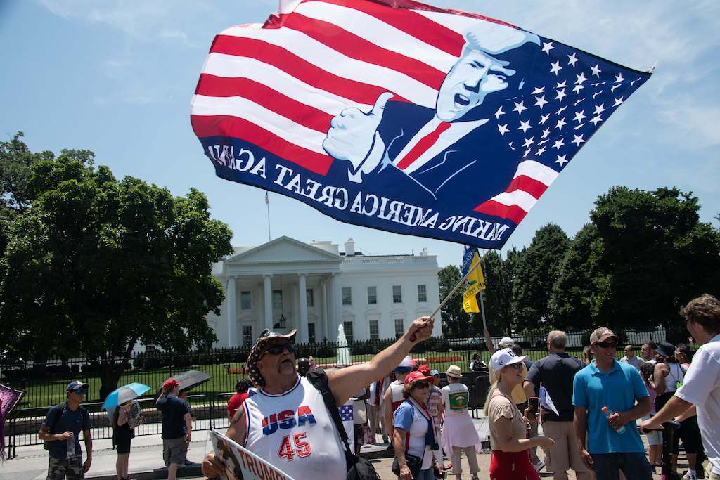 Supporters of US President Donald Trump gather in front of the White House in Washington, DC.