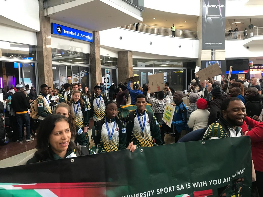 World Student Games members arrive home on 17 July 2019