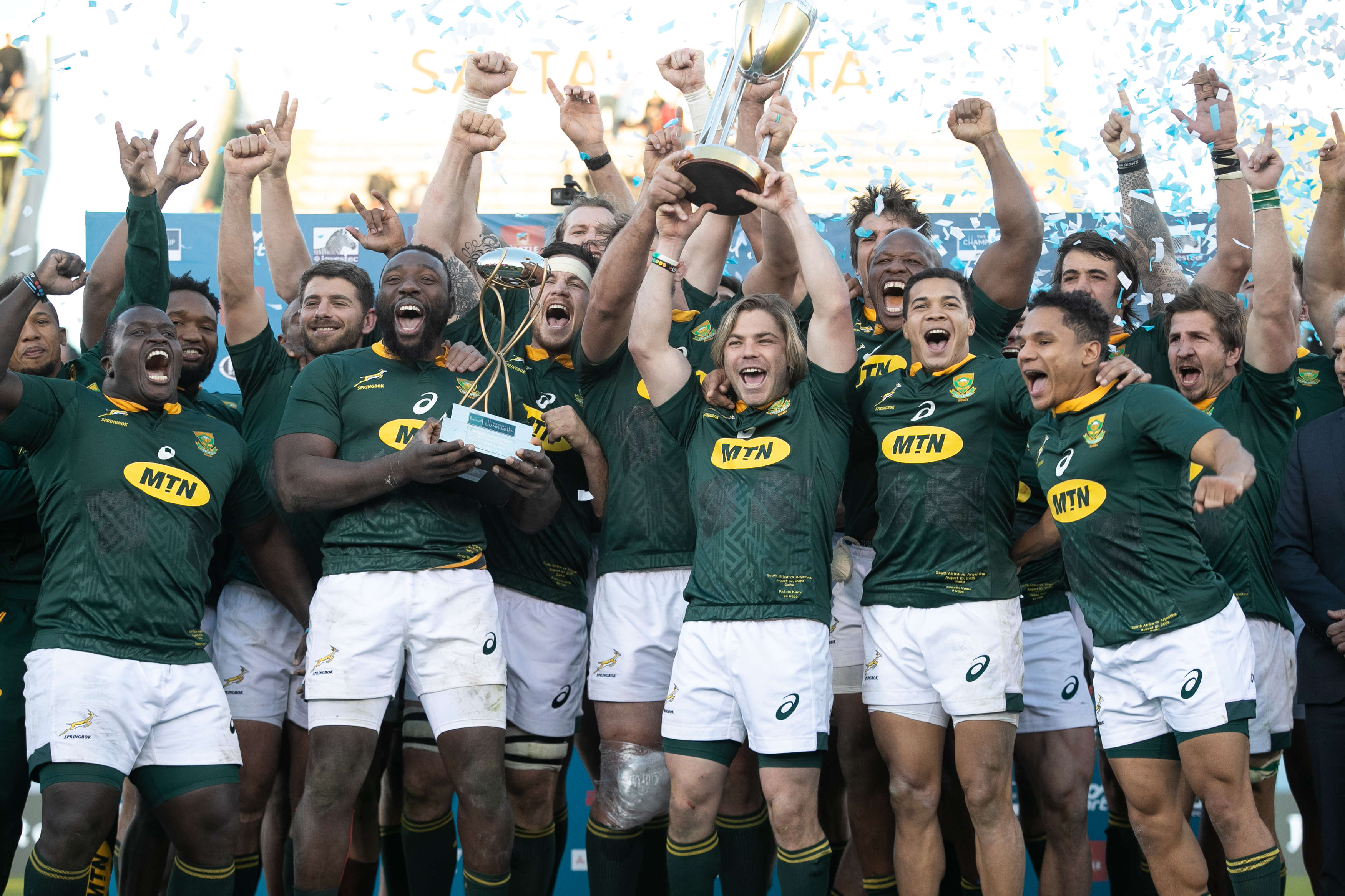 South African players celebrate after winning the Rugby Championship in Salta, Argentina, on August 10, 2019.