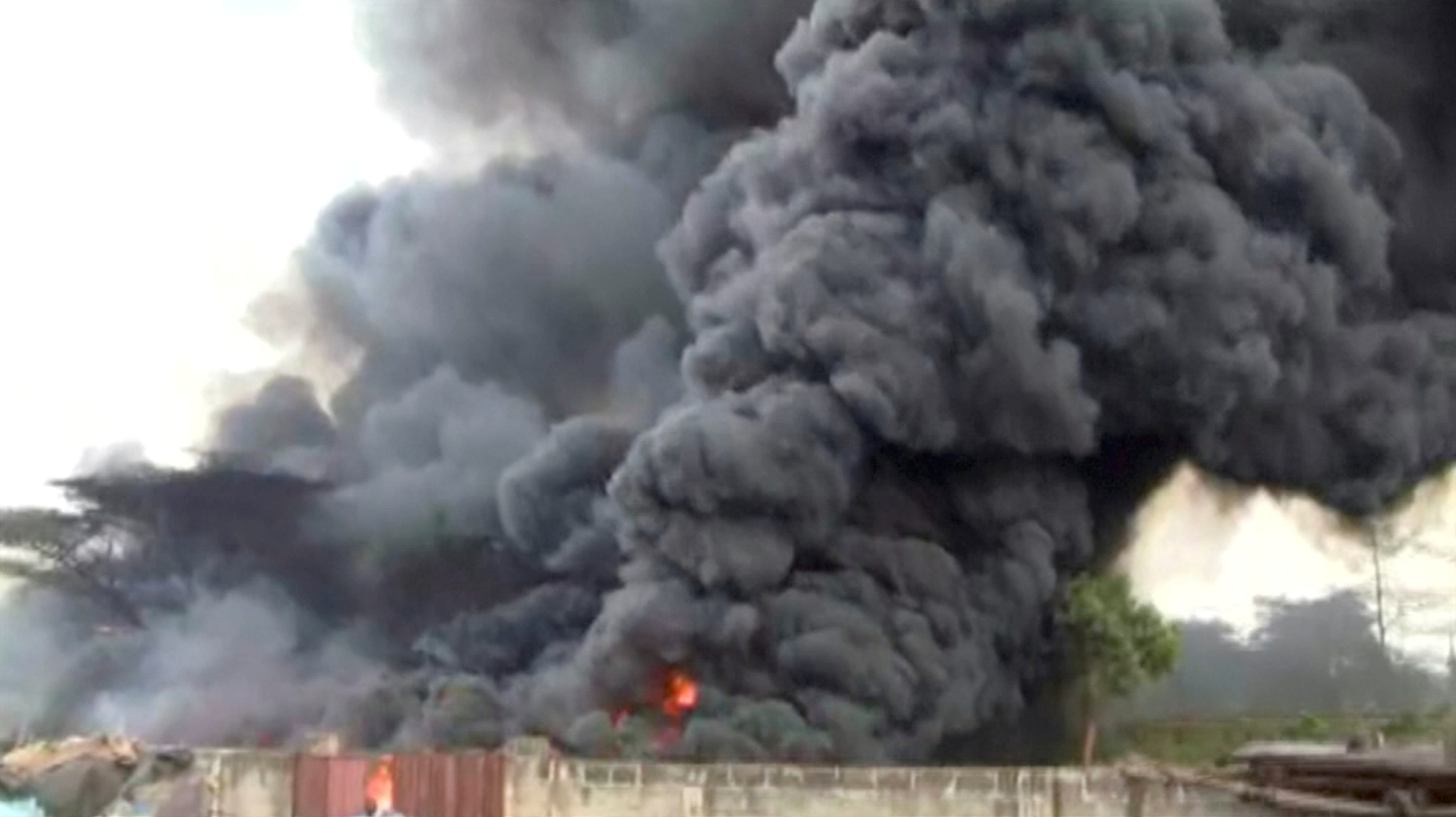 Smoke billows into air following an explosion of a fuel tanker in Morogoro, Tanzania August 10, 2019.