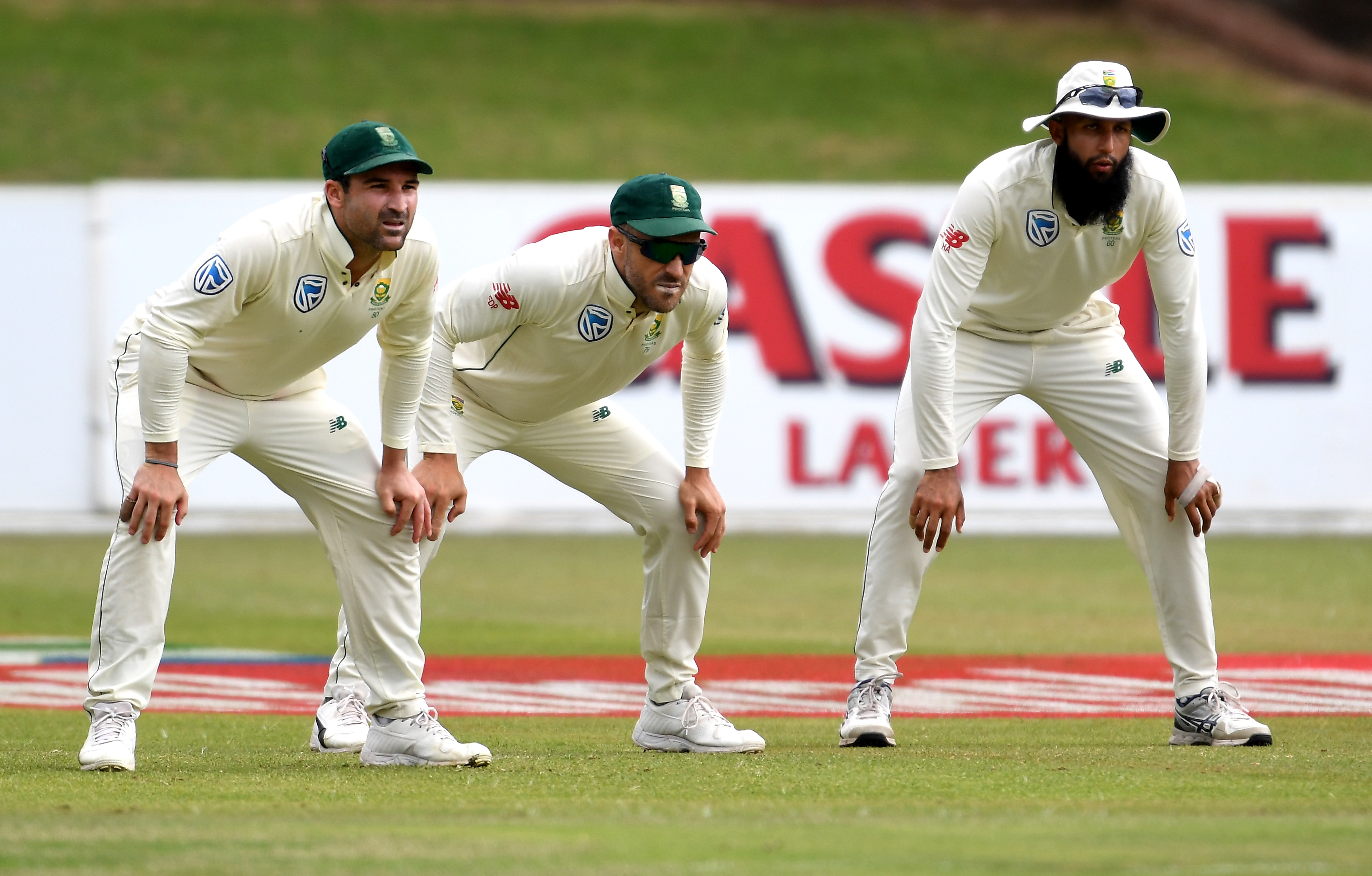 Dean Elgar, Faf du Plessis and Hashim Amla of South Africa during day 3 of the 2nd Castle Lager Test match between South Africa and Sri Lanka at St George's Park on February 23, 2019 in Port Elizabeth, South Africa.